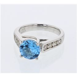 14KT White Gold 1.67ct Blue Topaz and Diamond Ring