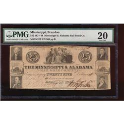 1837 $25 Mississippi and Alabama Obsolete Note PMG 20