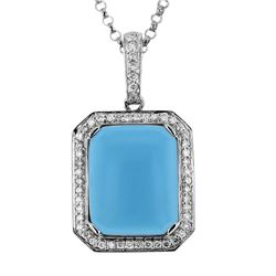 14KT White Gold 4.34ct Turquoise and Diamond Pendant with Chain