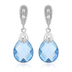 14KT White Gold 6.25ctw Blue Topaz and Diamond Earrings