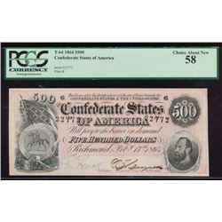 1864 $500 Confederate States of America Note PCGS 58