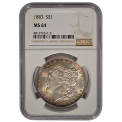 1883 $1 Morgan Silver Dollar Coin NGC MS64
