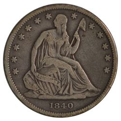 1840 Seated Liberty Small Letters Half Dollar Coin