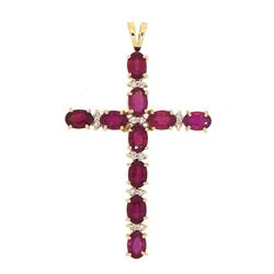 14KT White Gold 6.41ctw Ruby and Diamond Pendant