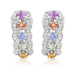 14KT White Gold 1.70ctw Multi Color Sapphire and Diamond Earrings