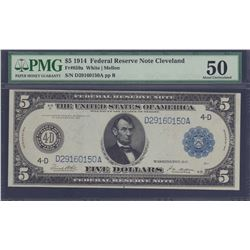 1914 $5 Cleveland Federal Reserve Note PMG 50