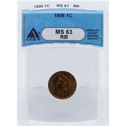1906 Indian Head One Cent Coin ANACS MS63RB