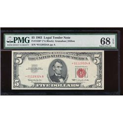 1963 $5 Legal Tender Star Note PCGS 68EPQ