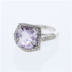 14KT White Gold 5.03ct Amethyst and Diamond Ring