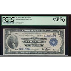 1918 $1 New York Federal Reserve Note PCGS 53PPQ