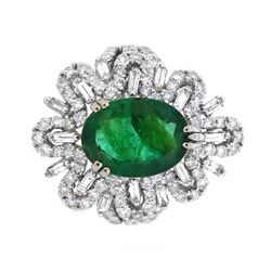 18KT White Gold 3.57ct Emerald and Diamond Ring