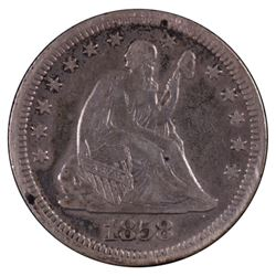 1858 Seated Liberty Quarter Coin
