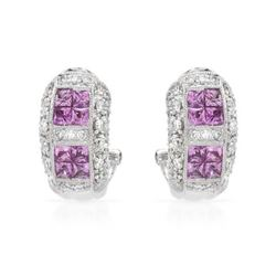 18KT White Gold 1.35ctw Sapphire and Diamond Earrings