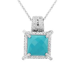 14KT White Gold 7.23ct Turquoise and Diamond Pendant with Chain