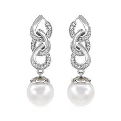 14KT White Gold 11.13ctw Pearl and Diamond Earrings