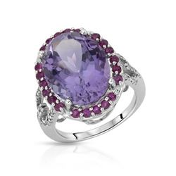 14KT White Gold 9.15ct Amethyst, Ruby and Diamond Ring