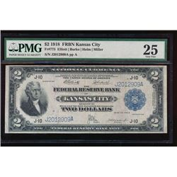 1918 $2 Kansas City Federal Reserve Bank Note PMG 25