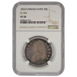 1824 Various Dates Bust Half Dollar Coin NGC VF20