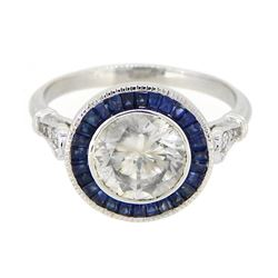 14KT White Gold 2.20ctw Diamond and Sapphire Ring