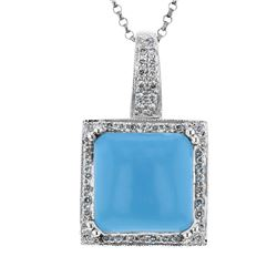 14KT White Gold 6.57ct Turquoise and Diamond Pendant with Chain