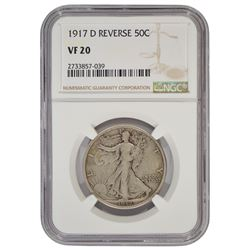1917-D Reverse Mintmark Walking Liberty Half Dollar NGC VF20