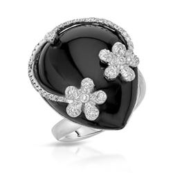 14KT White Gold 22.27ct Onyx and Diamond Ring