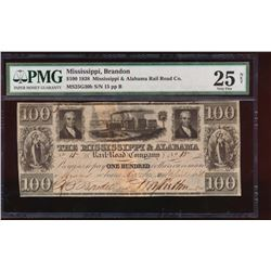 1838 $100 Mississippi and Alabama Rail Road Co Obsolete Note PMG 25NET