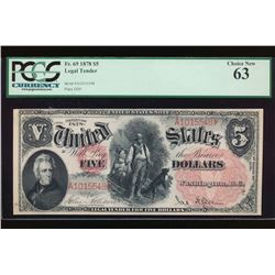 1878 $5 Legal Tender Note PCGS 63