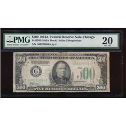 1934A $500 Chicago Federal Reserve Note PMG 20