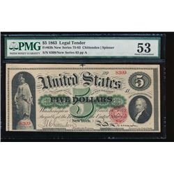 1863 $5 Legal Tender Note PMG 53