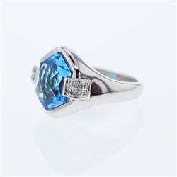 14KT White Gold 6.90ct Blue Topaz and Diamond Ring