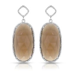 14KT White Gold 31.81ctw Smoky Topaz and Diamond Earrings