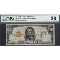 1928 $50 Gold Certificate Star Note PMG 20