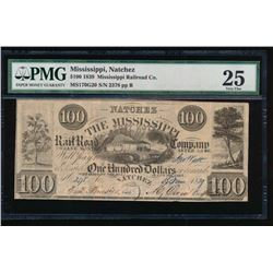 1839 $100 Mississippi Railroad Company Obsolete Note PMG 25
