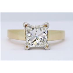 14KT Yellow Gold 1.02ct Princess Cut Diamond Ring