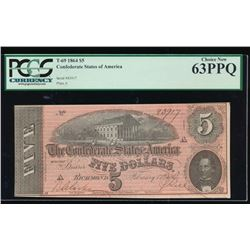 1864 $5 Confederate States of America Note PCGS 63PPQ
