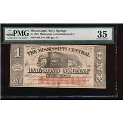 1862 $1 Mississippi Central Rail Road Co Obsolete Note PMG 35