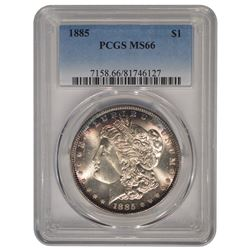 1885 $1 Morgan Silver Dollar Coin PCGS MS66