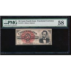 50 Cent 1864 Fourth Issue Fractional Note PMG 58