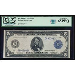 1914 $5 Chicago Federal Reserve Note PCGS 65PPQ