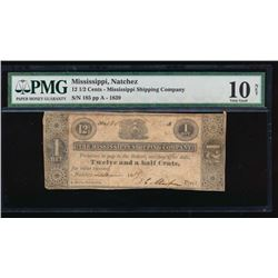 12 1/2 Cents 1839 Mississippi Shipping Company Obsolete Note PMG 10NET