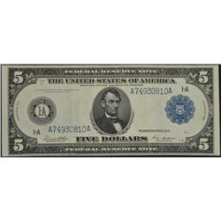 1914 $5 Boston Federal Reserve Note