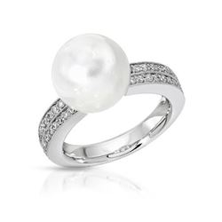 14KT White Gold 10.20ct Pearl and Diamond Ring
