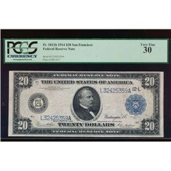 1914 $20 San Francisco Federal Reserve Note PCGS 30