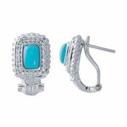 14KT White Gold 0.96ctw Turquoise and Diamond Earrings