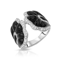 18KT White Gold 8.38ctw Onyx and Diamond Ring