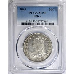 "1823 ""UGLY 3"" CAPPED BUST HALF DOLLAR, PCGS AU-50"