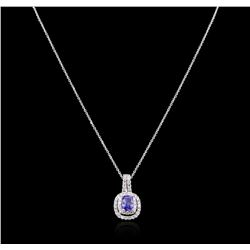1.36 ctw Tanzanite and Diamond Pendant With Chain - 14KT White Gold