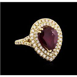 14KT Yellow Gold 4.29 ctw Ruby and Diamond Ring