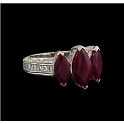 3.08 ctw Ruby and Diamond Ring - 18KT White Gold